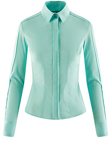 Cintre Femme oodji Collection Coton Chemisier 7300n en Coupe Turquoise CnYn5q