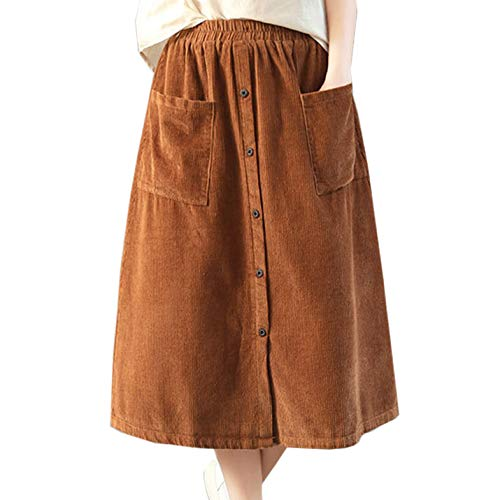 Flygo Women's Elastic Waist Button Front A-Line Corduroy Long Midi Skirt with Pockets (US 4-14, Khaki)