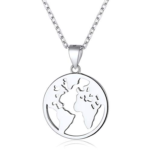 - Coin Necklace 925 Sterling Silver World Map Coin Pendant Necklace Vintage Jewelry for Women Men