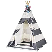 Durable Teepee for Kids, FoFxly Indian Play Tent, Stable Tipi, the Safest Children's Playhouse with Window and Floor, High Quality Wooden Poles & Sturdy Cotton Canvas & Nylon Strap & Non-Slip End Cover