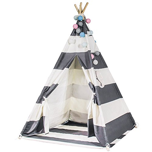Touch-Rich 6FT Durable Teepee for Kids, Indian Play Tent, Sturdy & Safe Kids' Furniture with Window & Floor, Including Style Matching Accessories (stripe grey teepee) by Touch-Rich