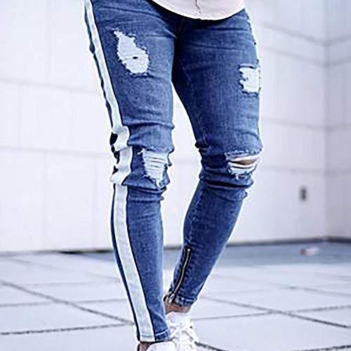 Del Light Mens Piedi Piccoli Cerniera Ginocchio Blue1 Scoppio Purebesi Tendenza Skinny Uomo Zipper Da Jeans Slim Buco U4SZ8