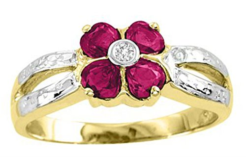 (Diamond & Ruby Ring 14K Yellow Gold or 14K White Gold)