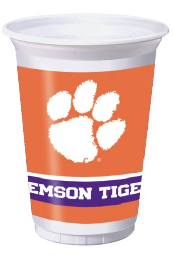 8-Count 20-Ounce Printed Plastic Cups, Clemson (Printed Plastic Cups)