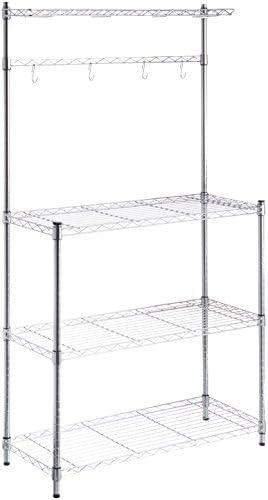 "41OJYPHoKCL. AC Amazon Basics Kitchen Storage Baker's Rack with Wood Table, Chrome/Wood - 63.4"" Height    An Amazon Brand"