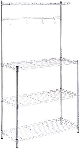 Amazon Basics Kitchen Storage Baker's Rack with Wood Table, Chrome/Wood – 63.4″ Height