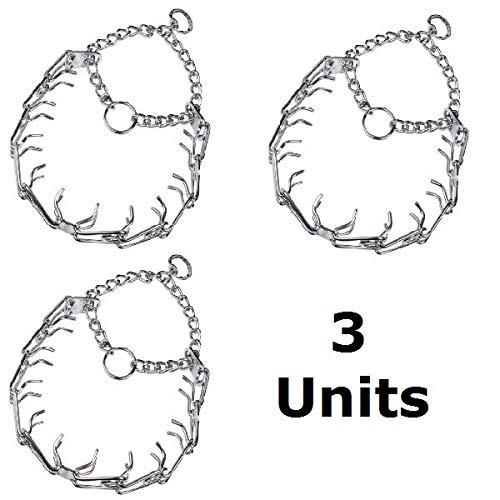 Herm Sprenger Chrome Plated Ultra-Plus Prong Training Collar, 3.0 mm x 16'' Girth - 3 Pack