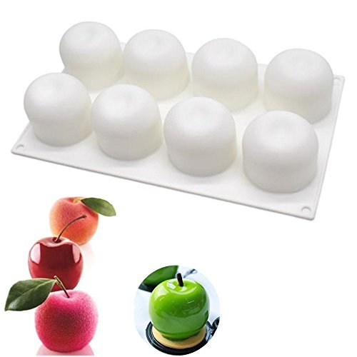 Silicone Mousse Mold Apple Shaped For Halloween Christmas Cake Truffle Jelly Desserts ,DIY Baking Tools,8-Cavity , Set of 1 -
