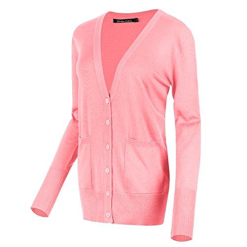 Urban CoCo Women's Long Sleeve Button Down Basic Cardigan Sweater (XL, Pink) (Juniors Sweater Cardigan)