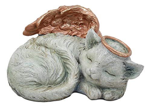 Ebros Heavenly Halo Sleeping Angel Cat Small Cremation Urn for Ashes Statue 7.5