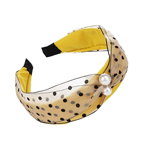 Bravetoshop Twisted Faux Pearl Tie Headband Bow Knotted Beaded Mesh Head Hoop Headwear Hairband (Yellow)