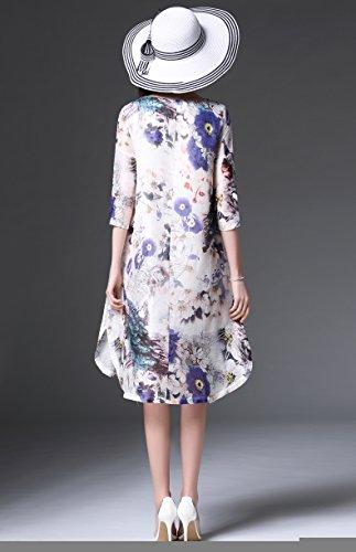 Bobbycool Soie Imprimé De Vêtements Pour Femmes Robe Lâche Grande Robe Longue Cour Multi Couleur