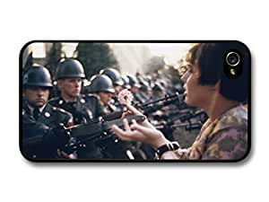 Vintage Retro Photo of Hippie placing Flower in the Gun of Soldier Peace Style case for iPhone 4 4S