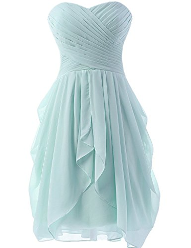 Women Sweetheart Short Bridesmaid Dresses Chiffon Wedding Party Gowns Dress Ice Blue US4