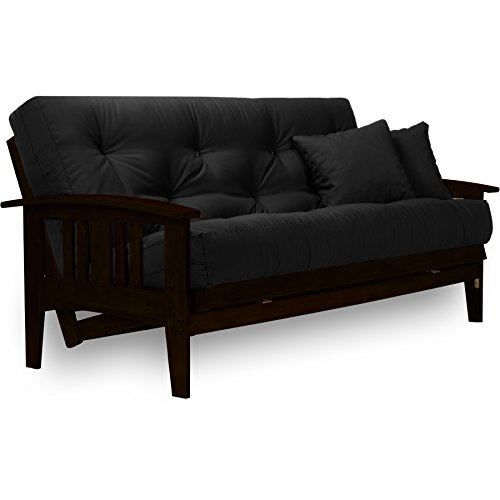 (Nirvana Futons Westfield Complete Futon Set - Espresso Finish (Warm Black) - Large Queen Size, Mission Style Wood Futon Frame with Mattress Included (Twill Black), More Mattress Colors Available)