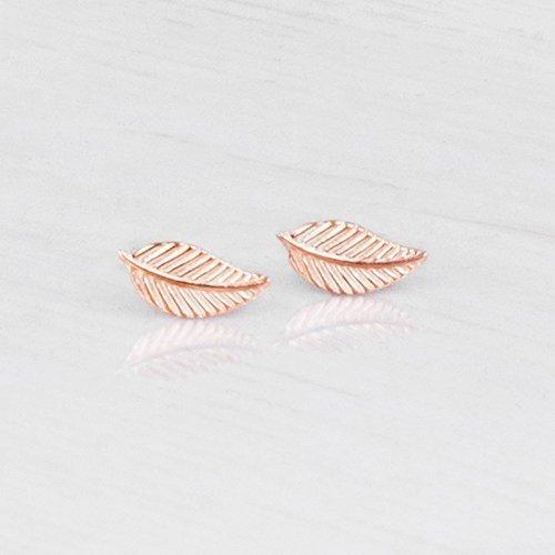 Tiny Rose Gold Leaf Stud Earrings - Designer Handmade Simple Post Earrings