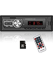 Hodozzy 1 Din Car Stereo Receiver, Single Din Bluetooth Car Audio/Hands-Free Calling, Car Radio Mp3 Player USB/SD/AUX-in/FM Radio Receiver 7 Colors +32G SD Card + Remote Control