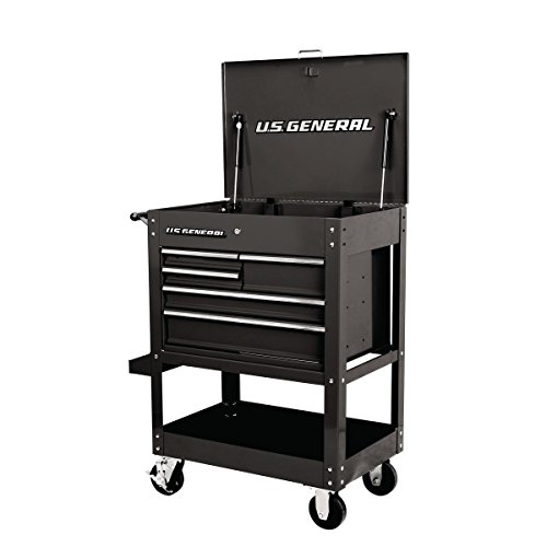 - 30 in. 5 Drawer Mechanic's Tool Cart Cabinet - Black