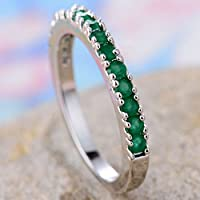 supaporn shop Fashion Jewelry Women 925 Silver Emerald Engagement Wedding Band Ring Size 6-10 (10)