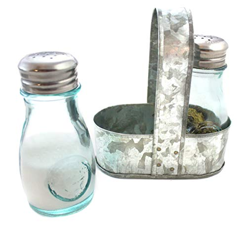 Farmhouse Rustic Salt and Pepper Shakers Green Glass Set Galvanized Caddy Holder by Well Pack Box ()