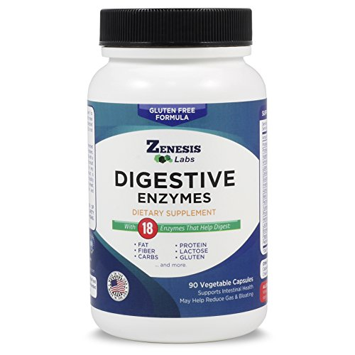 Digestive Enzymes - With Amylase, Bromelain, Protease, Lipase, and 14 Other Enzymes - 90 Capsules by Zenesis Labs