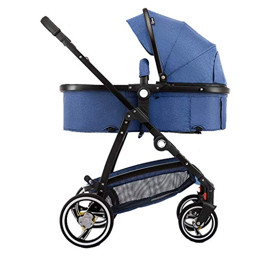 Baby Stroller,2 in 1 Pram and Pushchair, Compact High View Pram,Foldable Buggy with Adjustable Backrest (Color : Blue)