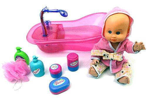 Brigamo 538 - Interaktive Puppen Badewanne mit funktionierender Dusche, inkl. Baby Badepuppe und viel Zubehör