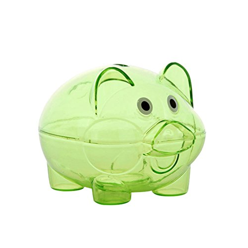 Potato001 Clear Lovely Piggy Bank Plastic Coin Cash Money Saving Box Openable Kids Gift (Green)