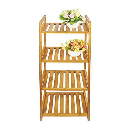Cyanbamboo 4 Tier Bathroom Shelf Bamboo Storage Shelf Adjustable Bamboo Rack Bookshelf for Bathroom Kitchen Living Room Display Rack (L: 13.8 Inch W: 10.2 Inch H:39.4 Inch)
