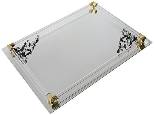 American Atelier Mirror Vanity Tray with Black Scroll Design and Gold Accents, 14 by 10-Inch ()