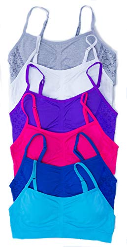 GB-6P-37003-XL Just Love Girls Bras / Tagless & Seamless Sports Bra for Kids (Pack of 6), 6 Pack - Group 1, X-Large / 38A