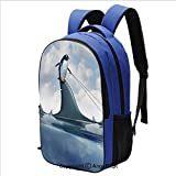 16.5 Inch Backpack Fear Management Leadership Concept with A Penguin Holding Shark Humor