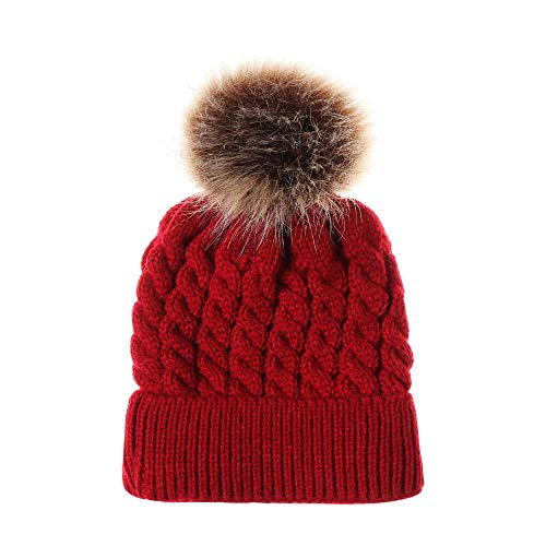 Old Embroidered Baby Hat - Toddler Baby Girls Boys Knit Beanie Cap, Vinjeely Unisex Baby Solid Color Cute Pompom Hemming Headgear Hat Winter (Red)
