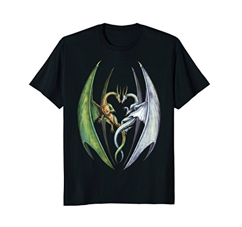 Art T-shirts Fantasy (Entwined Dragons Fantasy Art Graphic Tee Shirt)