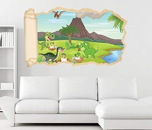3D Wandtattoo Kinderzimmer Dino Vulkan Cartoon Tapete Wand ...