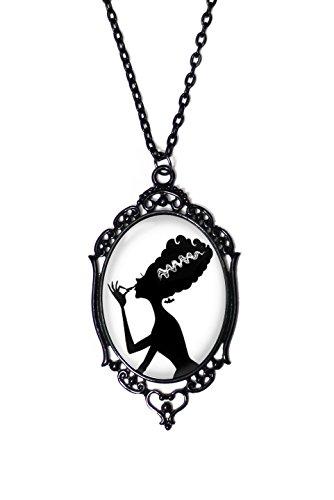 Makeup Bride of Frankenstein Horror Monster Cameo Necklace Black Antique Frame on 18
