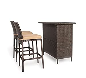 ulax muebles 3piezas Patio al aire libre mimbre contador altura Juego de Bar con taburetes, table1acolchada stool2