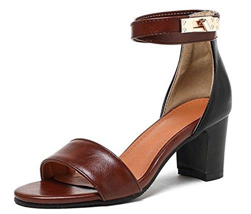 Easemax Moda Donna Open Toe Mid Heels Tacchi Fibbia Cinturini Sandali Marrone