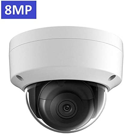 UltraHD 8MP 4K Outdoor PoE IP Camera OEM DS-2CD2185FWD-I 4mm Fixed Lens, Dome Network Security Camera, 3840 X 2160, up to 98ft IR Night Vision, Smart H.265 , SD Card Slot, WDR DNR, IP67 IK10