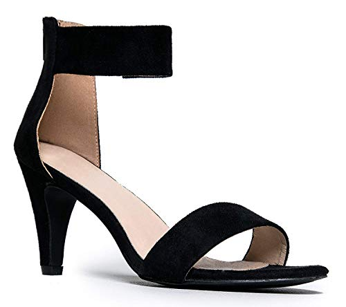 Inornever Open Toe High Heels Sandals for Women Dress Wedding Party Pump Sandals with Ankle Strap Comfortable Summer Shoes Black 6.5 B (M) US