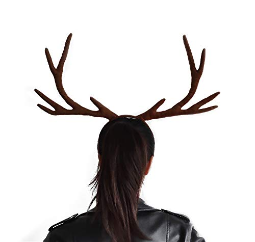 YOXI Cosplay Hair Band Short Plush Reindeer Antlers Headband Christmas and Easter Halloween Party Props Headbands
