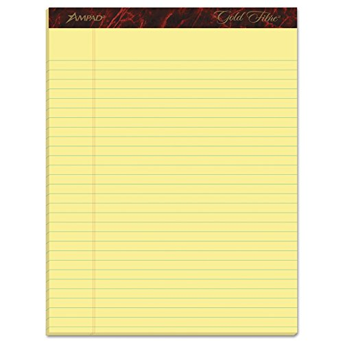 Ampad Gold Fibre Letter Size Perforated Pads, 8 1/2 x 11 3/4 Inches, Legal Ruling, Canary Paper, 50 Sheets Per Pad, 12 Pack (20-020) Ampad Heavyweight Writing Pad