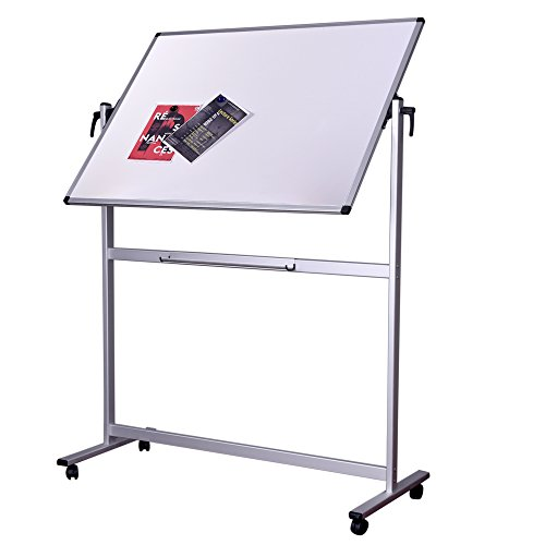 Writing Stand (48 x 36 inch Double Sided Magnetic Revolver Rolling Dry Erase Board Easel, Mobile Standing Presentation Whiteboard Writing Board on Aluminum Stand with Marker Tray)