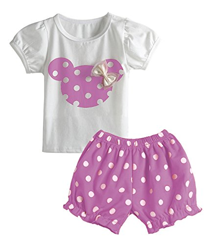 Cute Toddler Baby Girls Clothes Set Long Sleeve T-Shirt and Pants Kids 2pcs Outfits (Z-Purple, 6M)