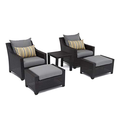 RST Brands Deco 5-Piece Club Chair and Ottoman Set with Cushions, Charcoal Grey