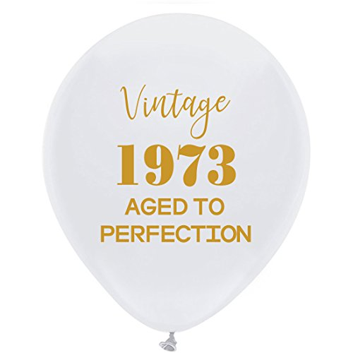 White Vintage 1973 Balloons – 12inch (16pcs) Men and Women Gold 45th Birthday Party Decorations or Supplies