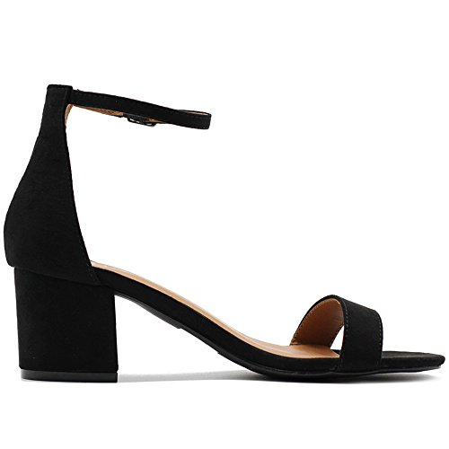 Niedrig cost Ollio Damenschuhe Schuhe Faux Suede Chunky Mid Ankle Heel Ankle Mid Strap ddfce2