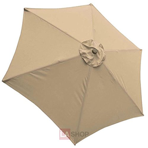 Tan 9 Foot Patio Umbrella Canopy Replacement 6 Rib For Sale