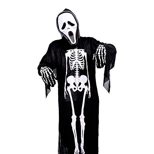 Man Halloween Skeleton Costume with Robe Mask Gloves,Horror Ghost Clothes for Adult