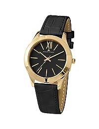 Jacques Lemans Women's Rome 37mm Black Leather Band Quartz Watch 1-1840ZJ